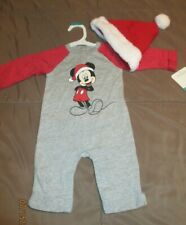 New listing Size 0-3 Months Infant Disney Mickey Mouse Santa Christmas Outfit & Hat Nwt