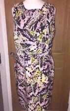 Ladies ATMOSPHERE Pink Yellow Black Grecian Style Mini Dress Size 10