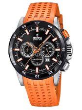 Festina Chronograph Uhr Herrenuhr Kautschuk Chrono Datum Orange F20353/6