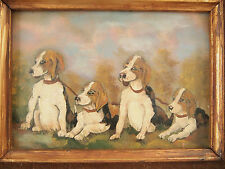 ''Four Littermates Puppies in Landscape''   Oil  on Board Painting Folk Art, Sig