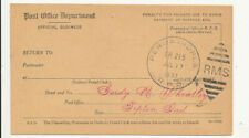 1937 Peru & Indianapolis Indiana RPO Cancels Registry Receipt Card Tipton Cancel
