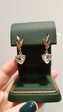 Green amethyst dangle earrings Russian solid rose gold 585 14k prasiolite NWT
