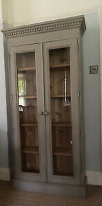 Tall Late 20th Century Glazed Grey Painted Display Drinks China Cabinet