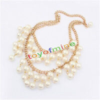 Fashion Charm Jewelry  Choker Chunky PEARL Statement Bib Pendant Necklace Chain2