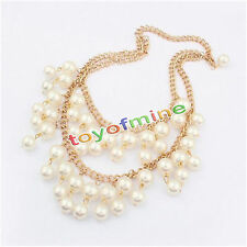 Fashion elegant Jewelry Choker Chunky PEARL Statement Bib Pendant Necklace Chain
