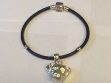 Boxer Dog Head TG291 Made From English Pewter on a Faux Leather Snake Bracelet