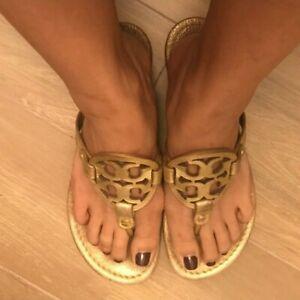Tory Burch Miller Metallic Gold Sandals Size 8