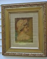 "VINTAGE  PRINT OF A GIRL WITH ORNATE OLD GESSO WOOD GOLD FRAME 30"" BY 26"""