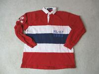 VINTAGE Ralph Lauren Polo Shirt Adult Medium Red White Striped 1993 CP 93 90s *