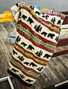 New Bear Adventure Oversized Southwest Bath Beach Pool Gift Towel Black Grizzly