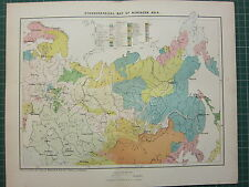 c1890 ANTIQUE MAP ~ ETHNOGRAPHICAL NORTHERN ASIA TURKS MONGOLS FINNS CHINESE