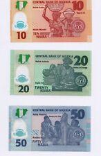 Nigeria Set of 3 banknotes: 10, 20, 50 Naira  2018 UNC Polymer
