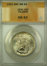 1921 Pilgrim Commemorative Silver Half Dollar Coin ANACS MS 63 Toned with Box