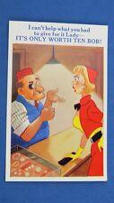 Risque Comic Postcard 1950s Jewish Humour Pawnbroker Pawn Shop Ten Bob Necklace