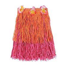"Hawaiian Summer Luau Party Two-Tone Adult Hula Skirt, Orange Pink  22 x 7.3"""