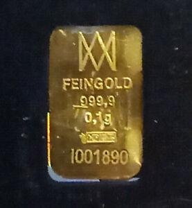 0,1g Gold Barren NZP 999,9 Top Anlage Nadir