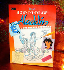 1993 DISNEY'S HOW TO DRAW ALADDIN BOOK vintage rare jafar abu jasmine genie art