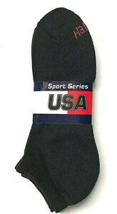 6 Pair Men's HANES Black Cushion Casual / Work Low Cut Sock Size10-13.USA