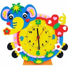 1set Animals DIY Cartoon Learning Clock Puzzle Crafts Kits Kids Educational Toys