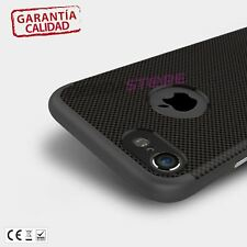 "Funda carcasa doble TPU + BUMPER boton metal compatible con iPhone 7 4.7"" Negra"
