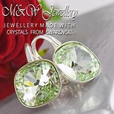 925 STERLING SILVER EARRINGS MADE WITH SWAROVSKI® 10MM FANCY STONE - CHRYSOLITE