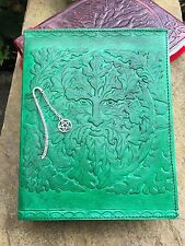 Handmade Leather Book of Shadows Journal ~Handmade Paper ~ Green Man Design