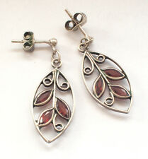 Stunning 925 Silver Small Pink Stone Leaf Earrings Butterfly Back Studs Retro