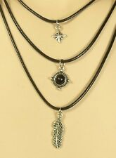 Multi-layer Necklace Set Feather Star Round Pendant Lobster Claw Fastener