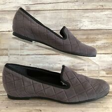 Munro Womens Jerri 6N Gray Soft Quilted Suede Loafers Flats Smoking Slipper