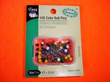 """Dritz 100 Color Ball Pins - Size 17 1 1/16"""" - General Purpose Sewing Pins"""