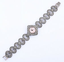 51 GRAMS MARCASITE .925 SOLID STERLING SILVER WRISTWATCH #23854