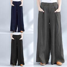 ZANZEA 8-24 Women Casual Long Wide Leg Palazzo Trousers Office OL Workwear Pants