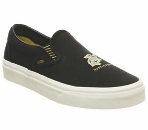 GENUINE ADULTS HARRY POTTER CLASSIC SLIP ON HUFFLEPUFF BLACK VANS TRAINERS NEW