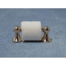 Dolls House Miniatures 1/12th Scale Accessory Silver Toilet Roll Holder D2259