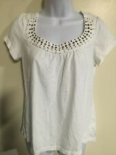 Sonoma White sequin Neck Line Short Sleeve Shirt Top Blouse Size Small S