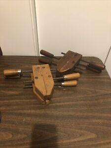 4 Vintage Jorgensen Handscrew 8 Inch Wooden Clamps Hard Maple