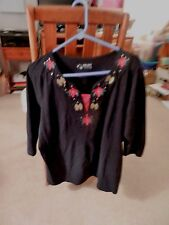 Women's Plus size 1X- black blouse with poinsettias and beaded bows