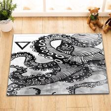 "Black Ink Octopus Print Non-Slip Bath Mat Rug 15X23"" Flannel Door Carpet Bathmat"