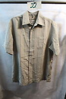 Mens Geoffrey Beene Beige Short Sleeve Shirt Size Medium