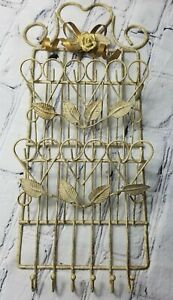 Vintage Ivory Gold Floral Interior Metal Wire Wall Two Slot Mail Six Key Holder
