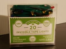 Holiday 20 Count Invisible green Tape Multicolor 3 function LED Lights 7.87 ft
