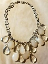 Statement Necklace Clear Frosted Prisms Bib Vtg Ice Tear Drop Chandelier Dangle