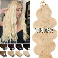 Seamless PU Tape In Skin Weft 100% Real Remy Virgin Human Hair Extensions 60PCS