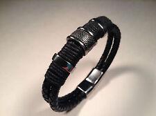 Bracelet Mens Genuine Leather Braided Wristband Bracelet Surfer Black.