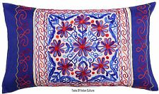Blue Indian Embroidered Pillow Sham Cases Cotton Cushion Cover Bohemian Decor