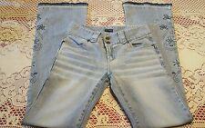 "LUCENT Jeans, Size Medium, Waist 27, Inseam 32"", Light Wash, Embroidered Detail"