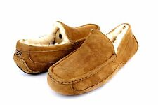 UGG AUSTRALIA MENS ASCOT CHESTNUT SUEDE FULLY LINED SLIPPERS SIZE 10 US