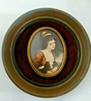Vintage Lady Hamilton w/Dog Cameo Picture Wall Hanging Velvet George Romney