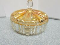 "BEAUTIFUL VINTAGE 7"" DIAMETER AMBER TINTED GLASS CANDY DISH WITH LID"