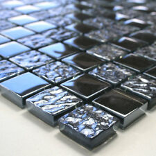 MUSTER von Glasmosaik Fliesen Schwarz Metallic Getrommelt für Fliesenbordüre Bad